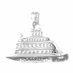 Sterling Silver Cruise Ship Pendant (Rhodium, Yellow or Rose Gold-plated)