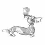 Sterling Silver Dauchshund Dog Pendant (Rhodium, Yellow or Rose Gold-plated)