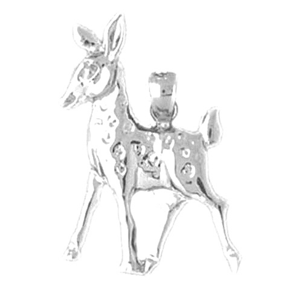 Rose Gold-plated 925 Silver 25mm Deer Pendant Jewels Obsession Silver Deer Pendant