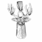 Sterling Silver Deer Pendant (Rhodium, Yellow or Rose Gold-plated)