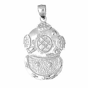 Sterling Silver Diving Helmet Pendant (Rhodium, Yellow or Rose Gold-plated)