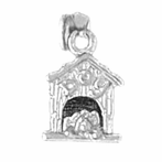 Sterling Silver Dog House Pendant (Rhodium, Yellow or Rose Gold-plated)