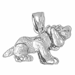Sterling Silver Dog Pendant (Rhodium, Yellow or Rose Gold-plated)