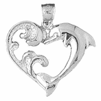 Sterling Silver Dolphin Heart Pendant (Rhodium, Yellow or Rose Gold-plated)