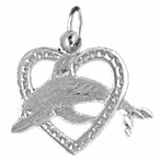 Sterling Silver Dolphin Jumping Through Heart Pendant (Rhodium, Yellow or Rose Gold-plated)