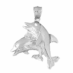 Sterling Silver Dolphin Pendant (Rhodium, Yellow or Rose Gold-plated)