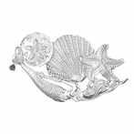 Sterling Silver Dolphin, Sand Dollar, Starfish, And Shell Pendant (Rhodium, Yellow or Rose Gold-plated)