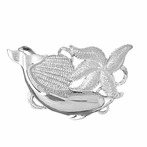 Sterling Silver Dolphin, Starfish, And Shell Pendant (Rhodium, Yellow or Rose Gold-plated)