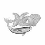Sterling Silver Dolphin With Starfish And Shell Pendant (Rhodium, Yellow or Rose Gold-plated)