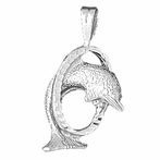 Sterling Silver Dolphins Jumping Through Hoop Pendant (Rhodium, Yellow or Rose Gold-plated)