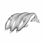 Sterling Silver Dolphins Pendant (Rhodium, Yellow or Rose Gold-plated)