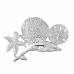 Sterling Silver Dolphins, Starfish, Shell And Sand Dollar Pendant (Rhodium, Yellow or Rose Gold-plated)
