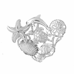 Sterling Silver Dolphins, Starfish, Turtle, Sand Dollar, Shell And Fish Pendant (Rhodium, Yellow or Rose Gold-plated)