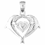 Sterling Silver Dolphins With Heart Pendant (Rhodium, Yellow or Rose Gold-plated)