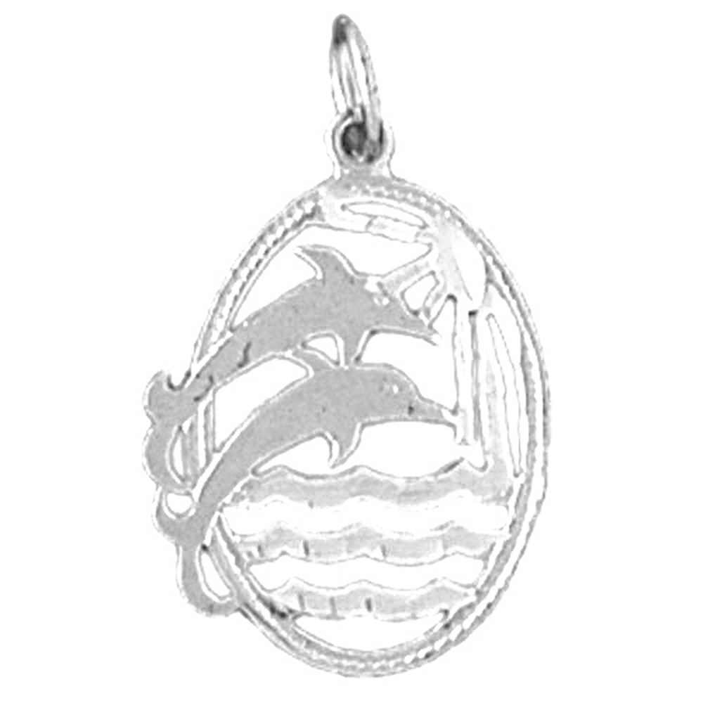 Sterling Silver 925 Dolphin Pendant Jewels Obsession Dolphin Pendant 25 mm