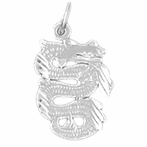 Sterling Silver Dragon Pendant (Rhodium, Yellow or Rose Gold-plated)