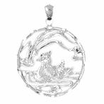 Sterling Silver Duck In Pond Pendant (Rhodium, Yellow or Rose Gold-plated)