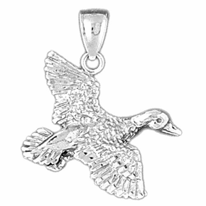 Sterling Silver Duck Pendant (Rhodium, Yellow or Rose Gold-plated)