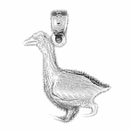 Sterling Silver Ducks Pendant (Rhodium, Yellow or Rose Gold-plated)