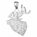 Sterling Silver Elk Pendant (Rhodium, Yellow or Rose Gold-plated)