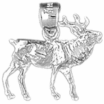 Sterling Silver Elk Pendants (Rhodium, Yellow or Rose Gold-plated)