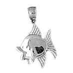 Sterling Silver Fish Pendant (Rhodium, Yellow or Rose Gold-plated)
