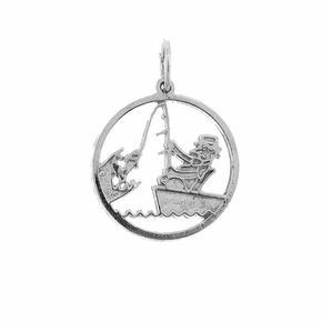 Sterling Silver Fisherman Pendant (Rhodium, Yellow or Rose Gold-plated)