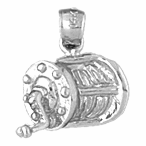 Sterling Silver Fishing Reel Pendant (Rhodium, Yellow or Rose Gold-plated)