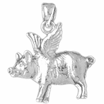 Sterling Silver Flying Pig Pendant (Rhodium, Yellow or Rose Gold-plated)