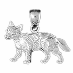 Sterling Silver Fox Pendant (Rhodium, Yellow or Rose Gold-plated)