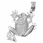 Sterling Silver Frog Pendant (Rhodium, Yellow or Rose Gold-plated)