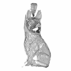 Sterling Silver German Shepard - Dog Pendant (Rhodium, Yellow or Rose Gold-plated)