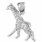 Sterling Silver Giraffe Pendant (Rhodium, Yellow or Rose Gold-plated)