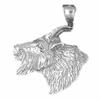 Sterling Silver Goat Pendant (Rhodium, Yellow or Rose Gold-plated)