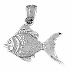 Sterling Silver Goldfish Pendant (Rhodium, Yellow or Rose Gold-plated)