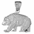 Sterling Silver Grizzley Bear Pendant (Rhodium, Yellow or Rose Gold-plated)