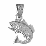 Sterling Silver Halibut Pendant (Rhodium, Yellow or Rose Gold-plated)