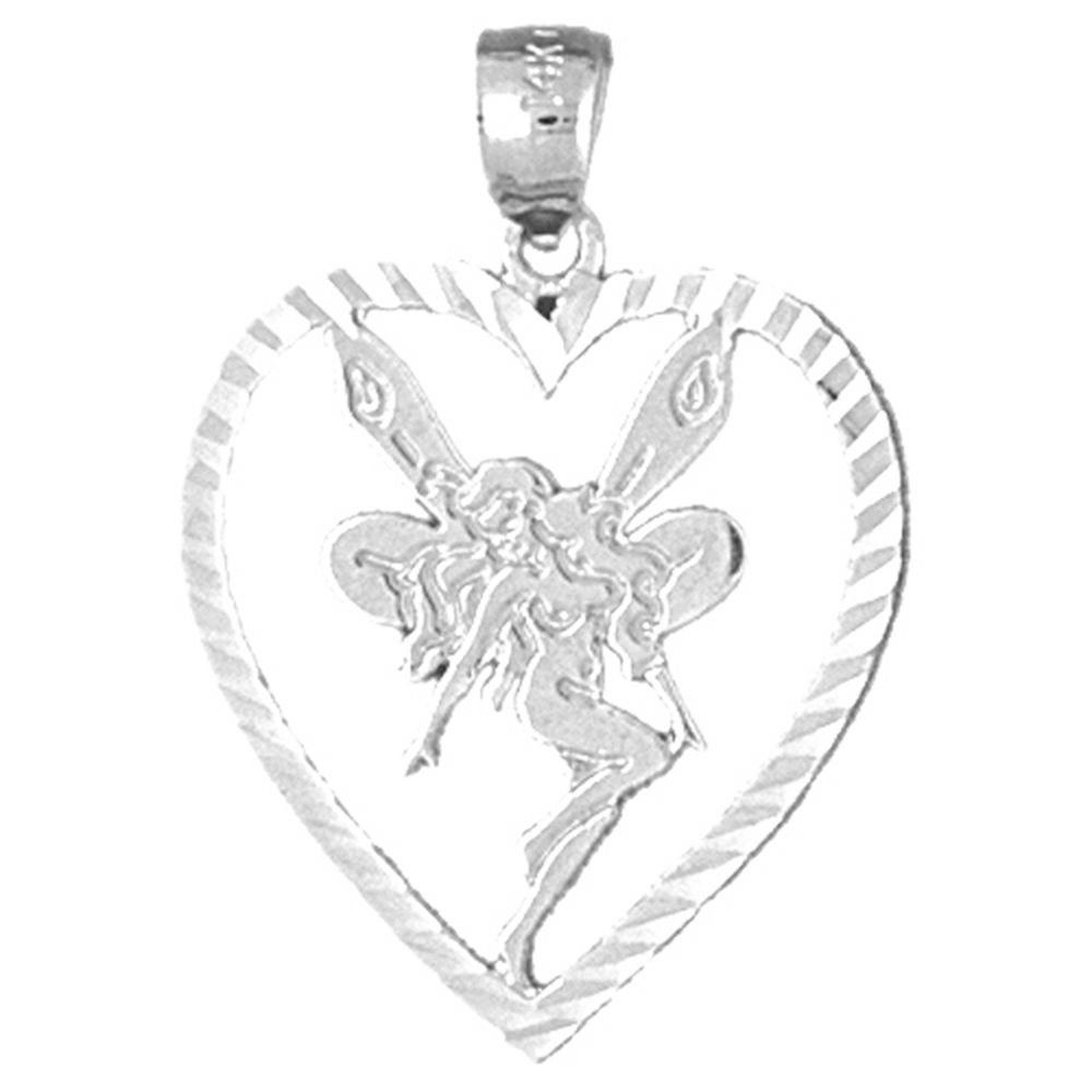 Sterling silver 925 heart with fairy pendant sterling silver sterling silver heart with fairy pendant rhodium yellow rose or black gold plated aloadofball Image collections