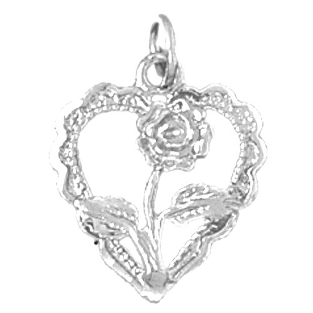Sterling silver 925 heart with rose pendant sterling silver sterling silver heart with rose pendant rhodium yellow rose or black gold plated mozeypictures Image collections