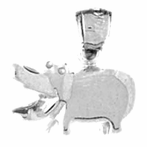 Sterling Silver Hippopotamus Pendant (Rhodium, Yellow or Rose Gold-plated)