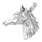 Sterling Silver Horse Head Pendant (Rhodium, Yellow or Rose Gold-plated)