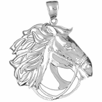 Sterling Silver Horse Pendant Pendant (Rhodium, Yellow or Rose Gold-plated)