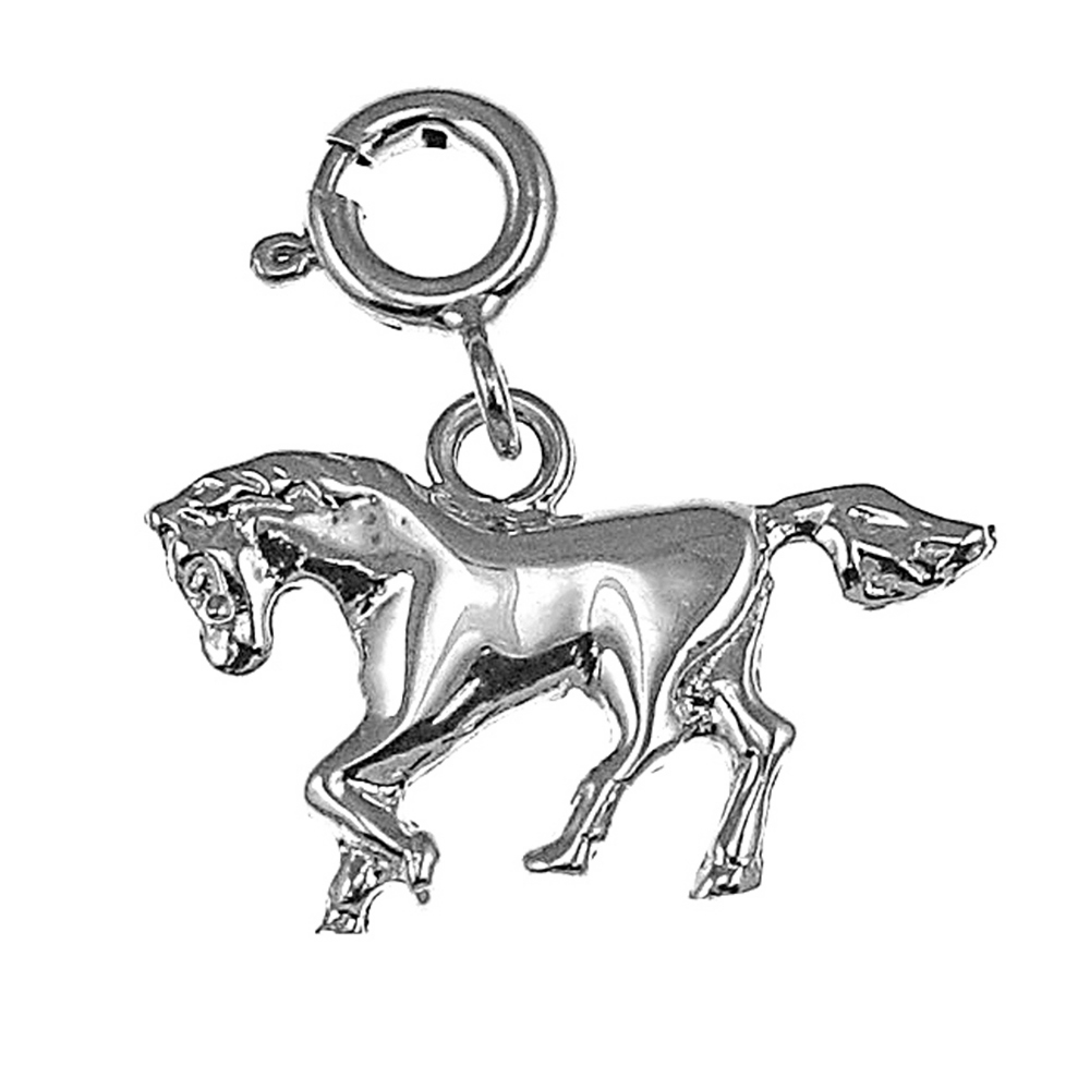 Rose Gold-plated Silver 17mm Horse Pendant
