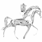 Sterling Silver Horse Pendant (Rhodium, Yellow or Rose Gold-plated)