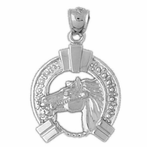 Sterling Silver Horse Shoe And Horse Pendant (Rhodium, Yellow or Rose Gold-plated)