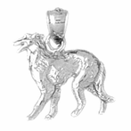 Sterling Silver Hound Dog Pendant (Rhodium, Yellow or Rose Gold-plated)