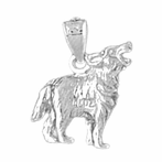 Sterling Silver Husky Dog Pendant (Rhodium, Yellow or Rose Gold-plated)