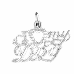 Sterling Silver I Love My Dog Pendant (Rhodium, Yellow or Rose Gold-plated)