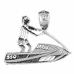 Sterling Silver Jet Ski Pendant (Rhodium, Yellow or Rose Gold-plated)