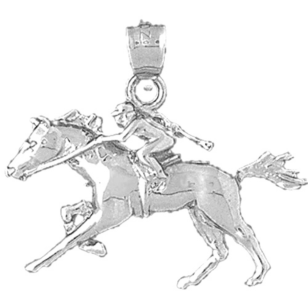 Rhodium-plated 925 Silver Horse /& Jockey Pendant with 18 Necklace Jewels Obsession Horse And Jockey Necklace
